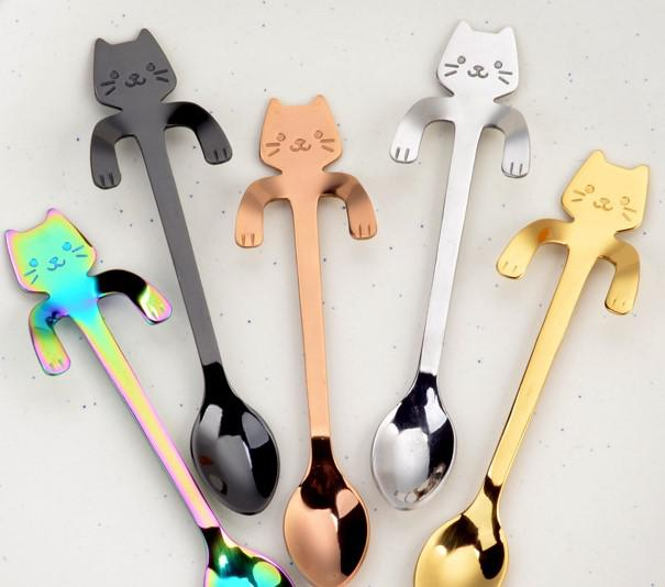 #304 Stainless Steel Cartoon Cat/bear Spoon Creative Coffee Spoon Ice Cream Candy Tea spoon
