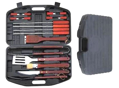 18 pcs solid wood handle bbq tool set
