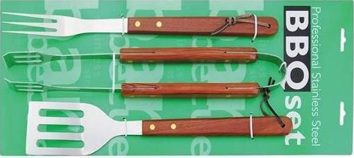 3 pcs bbq tool set tie on card