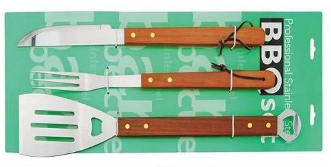 3 pcs bbq tool set on card