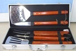 5pc solid wood bbq tool in case