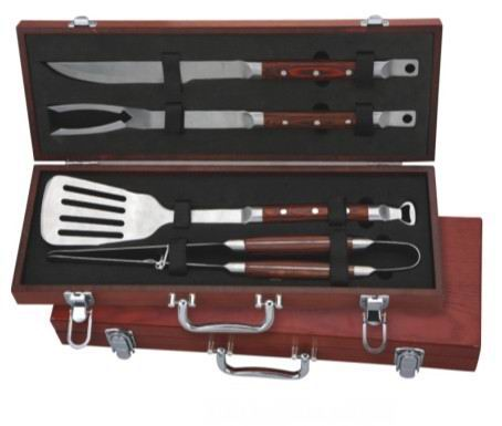4 pcs high quality pakka wood bbq tool set