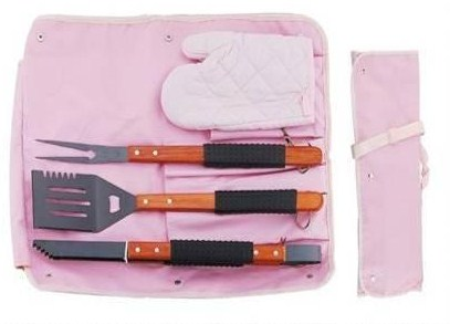 4 pcs new bbq tool set in apron