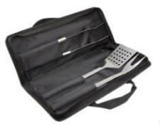 3 pcs stainless steel bbq tool set in nylon bag