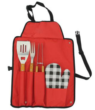 4 PCS solid wood handle BBQ TOOL SET in Apron for promotion