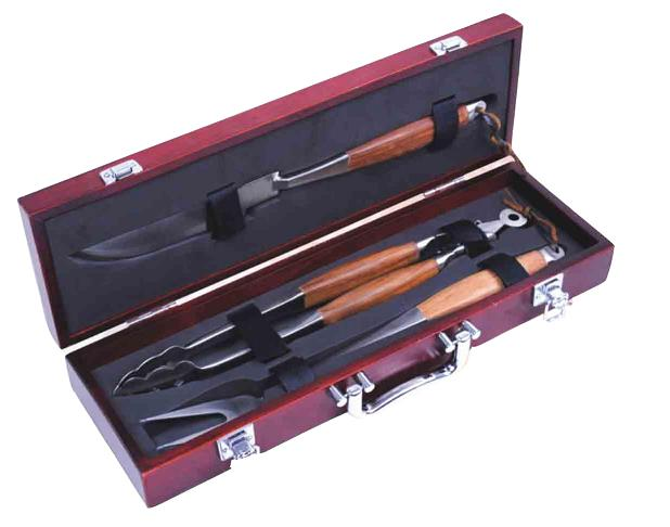 3 pcs rose wood bbq tool set