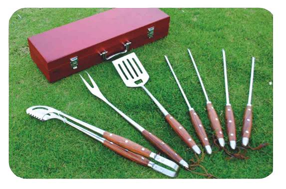 7 PCS PAKKA WOOD BBQ TOOL