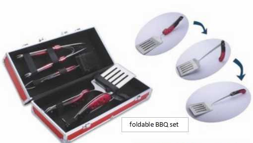 New foldable 4 pcs BBQ grilling tool set