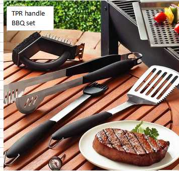 3 pcs deluxe high quality TPR handle BBQ tool sets