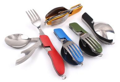 multi functional folding stell tableware picnic fork spoon