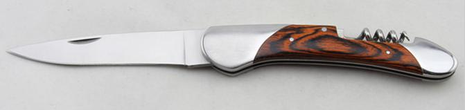 Stainles stainless folding knife wood laguiole knife WITH corkscrew